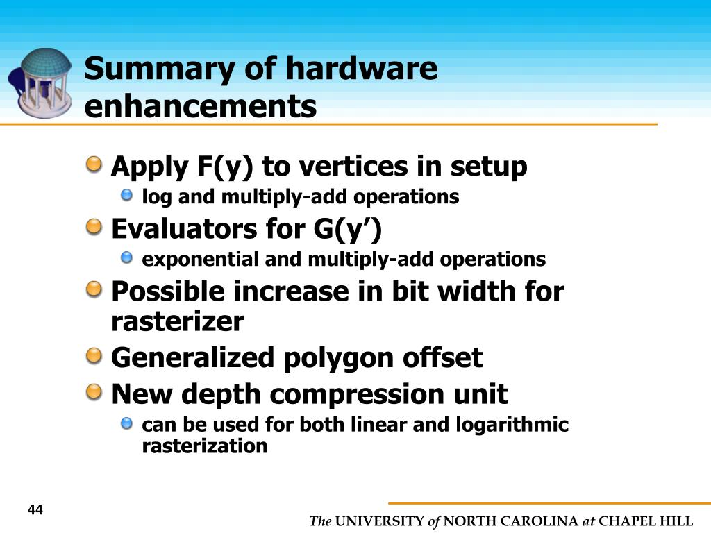 Summary of hardware enhancements