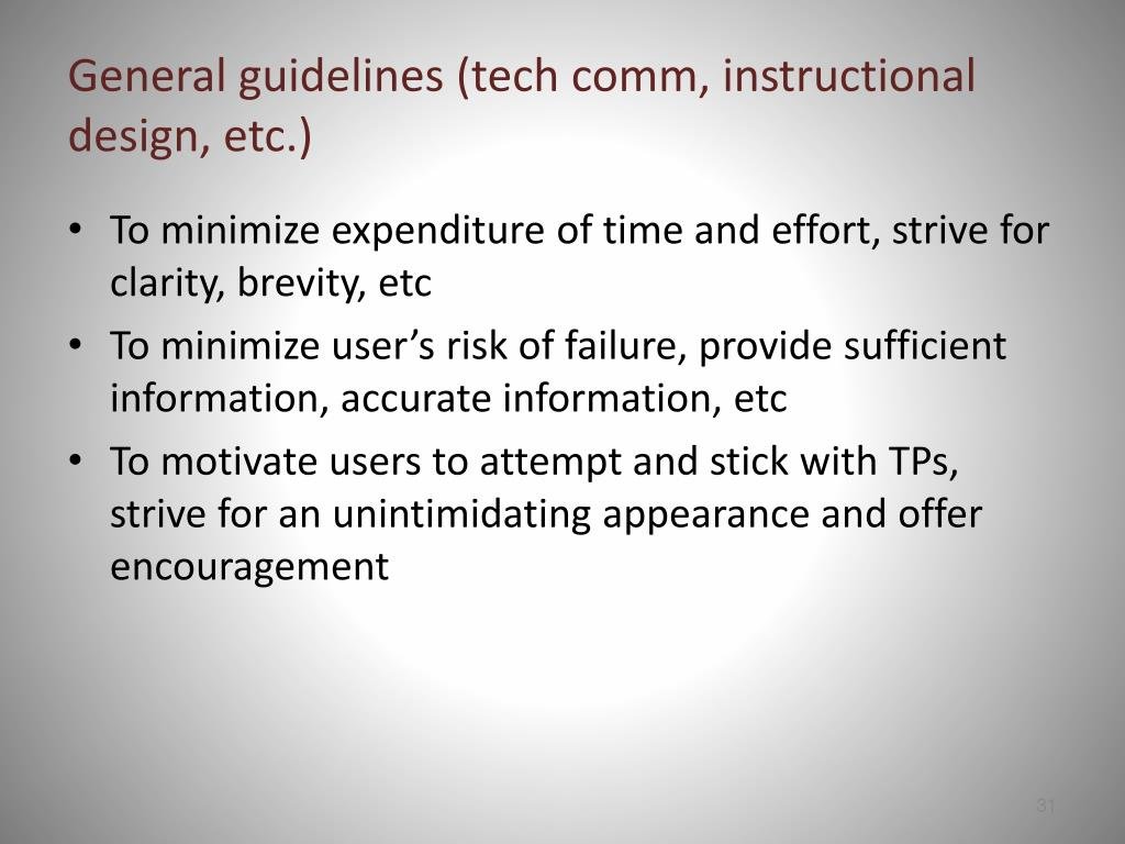 General guidelines (tech