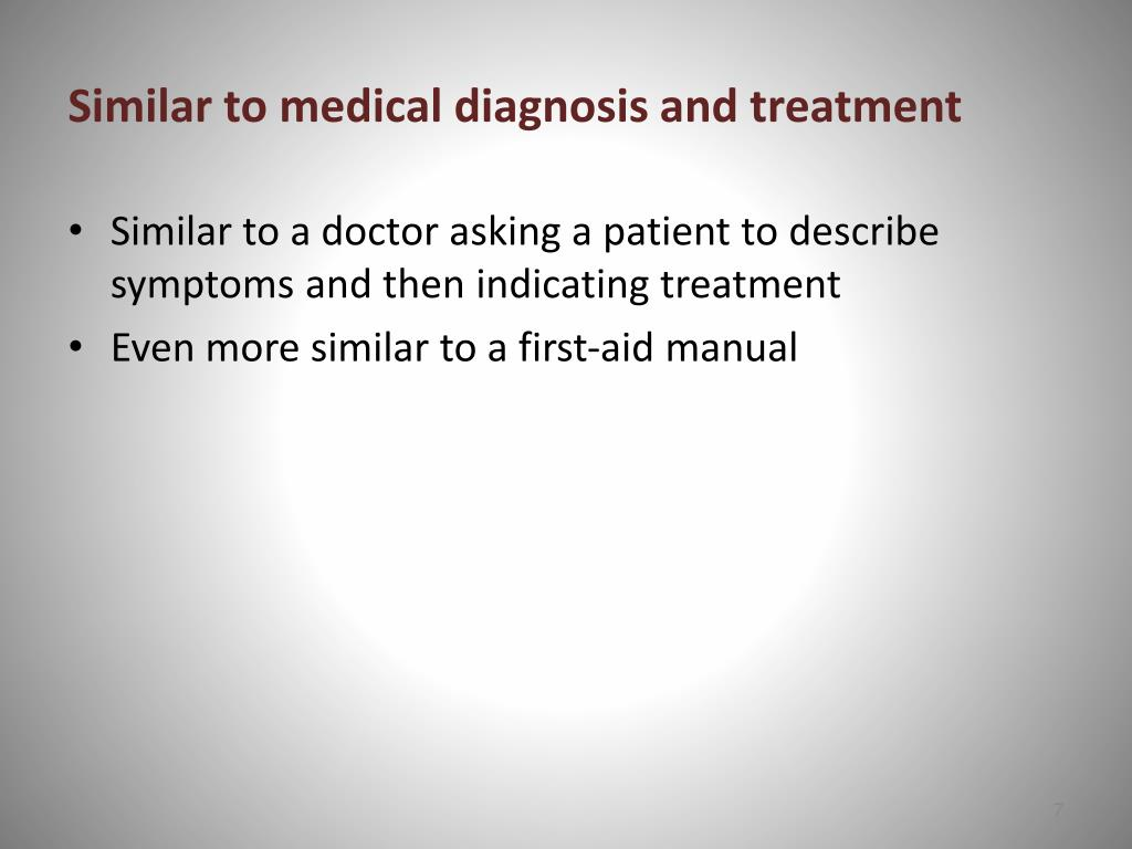 Similar to medical diagnosis and treatment