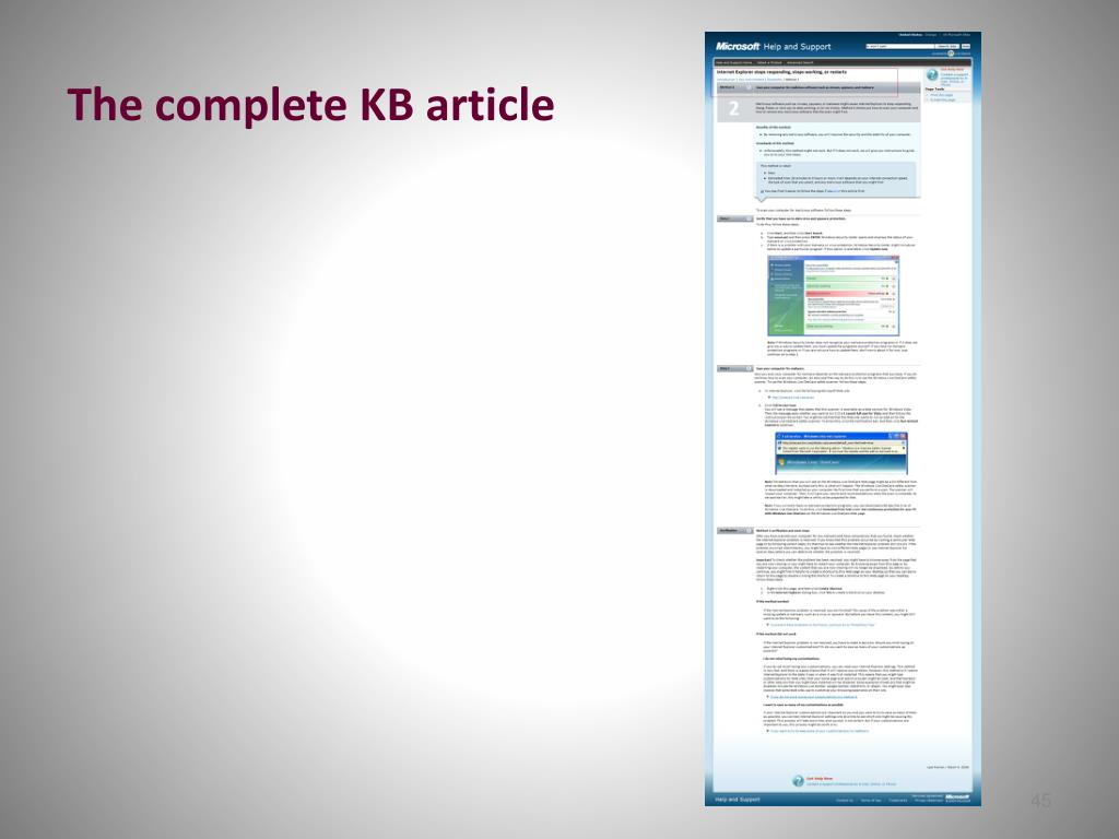 The complete KB article