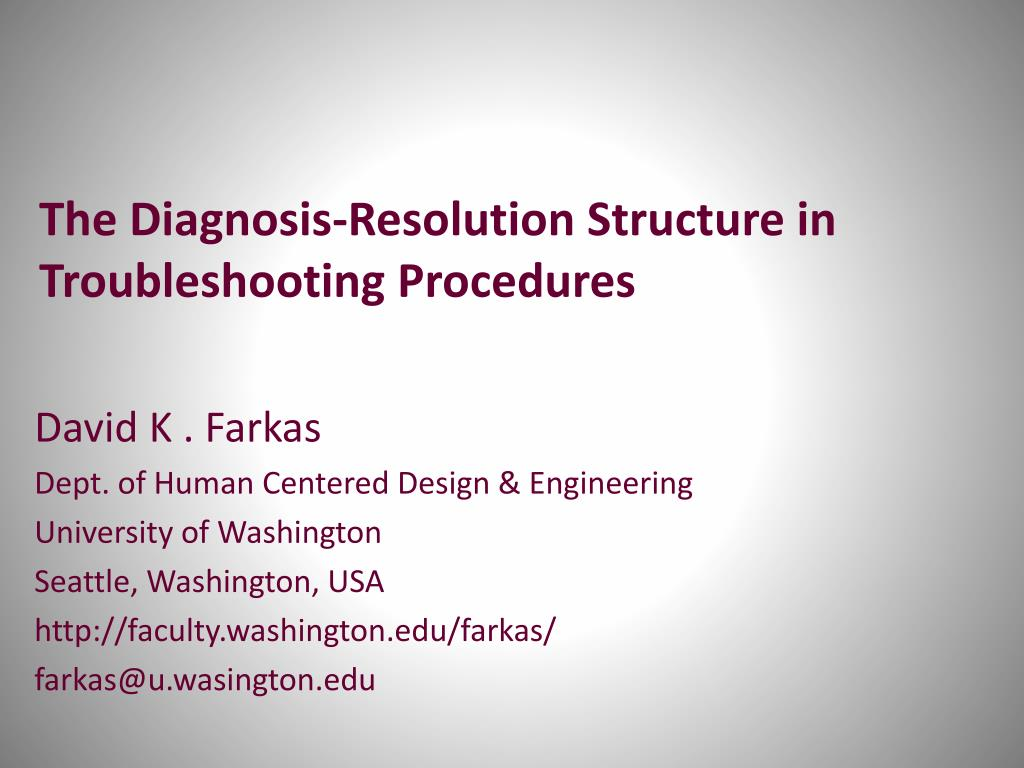 the diagnosis resolution structure in troubleshooting procedures l.