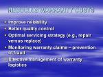 reducing warranty costs
