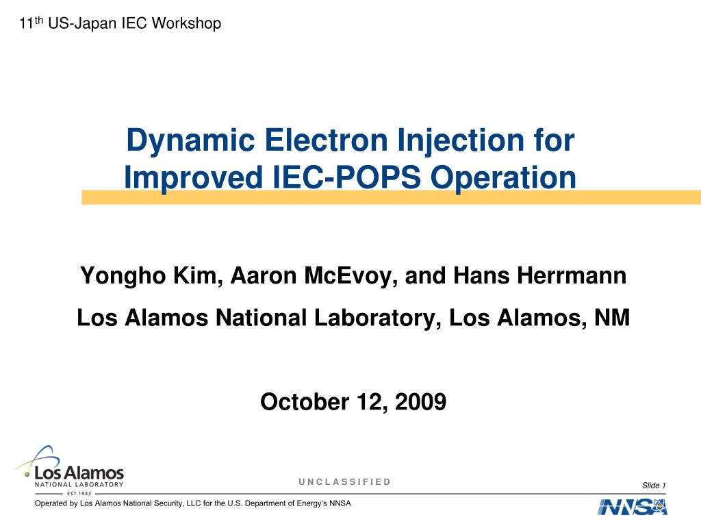 dynamic electron injection for improved iec pops operation l.