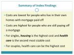 summary of index findings