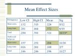 mean effect sizes