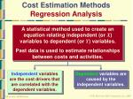 cost estimation methods regression analysis