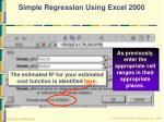 simple regression using excel 200055