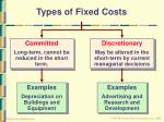 types of fixed costs