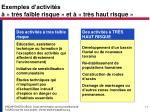 exemples d activit s tr s faible risque et tr s haut risque