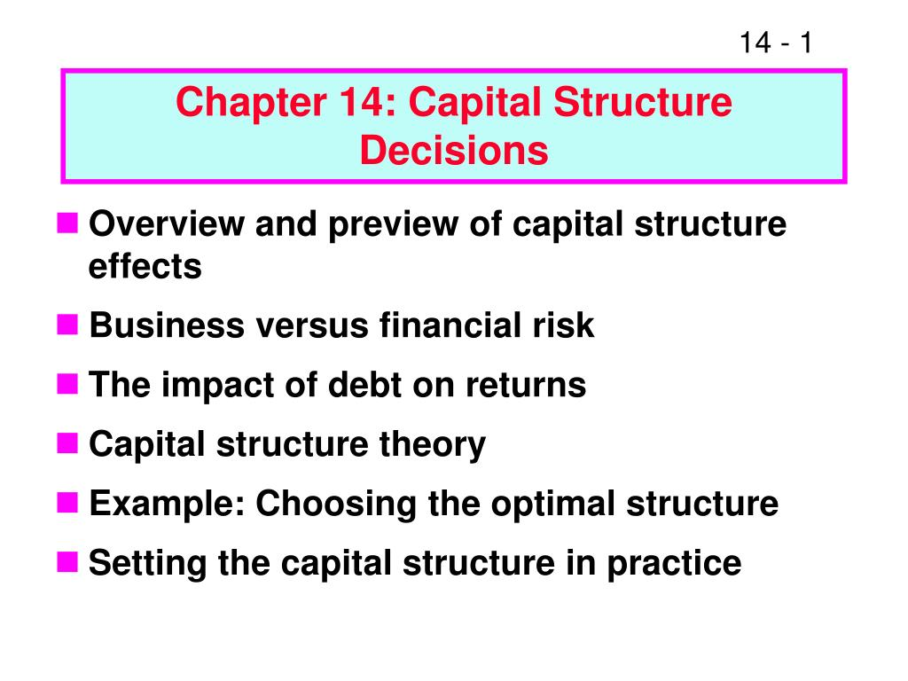 chapter 14 capital structure decisions l.