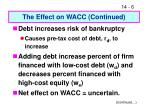 the effect on wacc continued