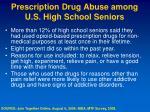 prescription drug abuse among u s high school seniors