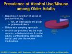 prevalence of alcohol use misuse among older adults