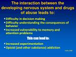 the interaction between the developing nervous system and drugs of abuse leads to