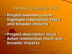 review criteria for rui34