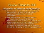 review criteria for rui37