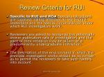 review criteria for rui39