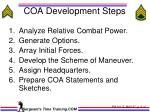 coa development steps