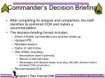 commander s decision briefing