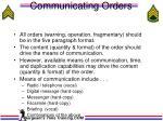communicating orders