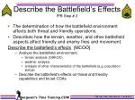 describe the battlefield s effects ipb step 2