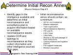 determine initial recon annex mission analysis step 9