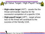 high value target high payoff target