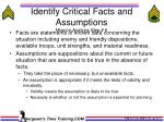 identify critical facts and assumptions mission analysis step 6