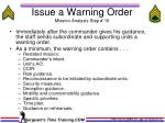 issue a warning order mission analysis step 16