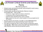 list known critical events and decision points war gaming step 4