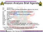 mission analysis brief agenda