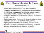 plan use of available time mission analysis step 10