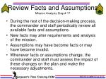 review facts and assumptions mission analysis step 17