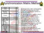 synchronization matrix method
