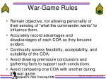 war game rules
