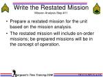 write the restated mission mission analysis step 11