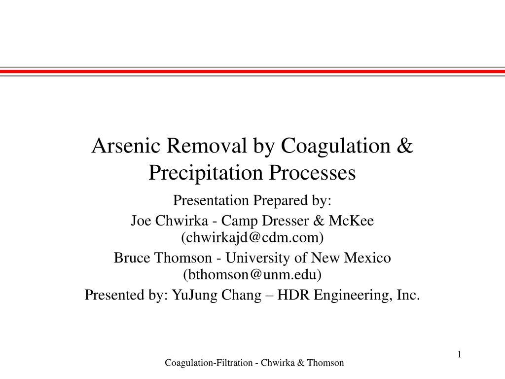 arsenic removal by coagulation precipitation processes l.