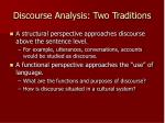 discourse analysis two traditions