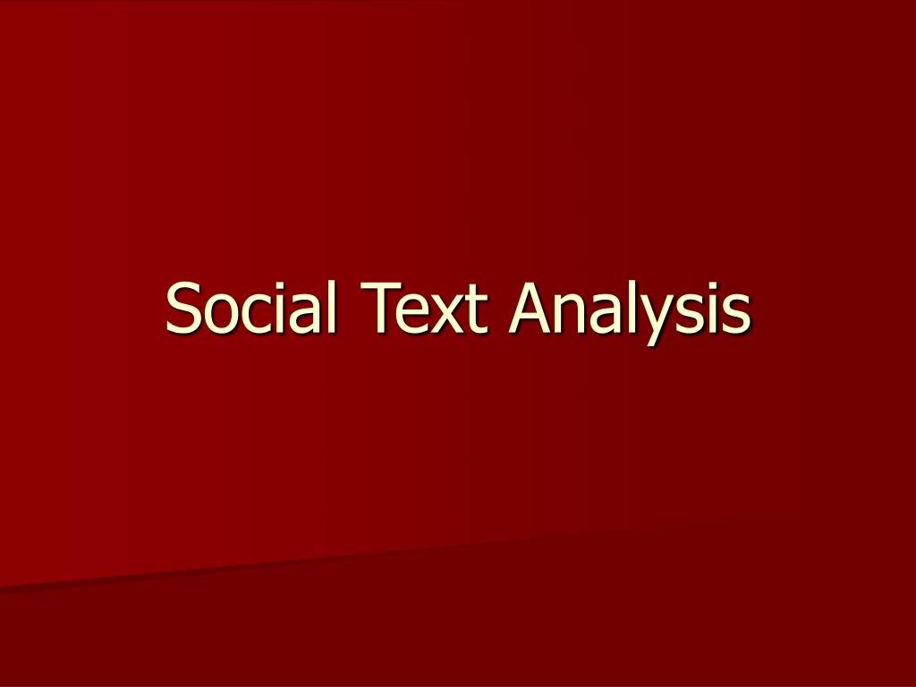 social text analysis l.