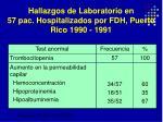 hallazgos de laboratorio en 57 pac hospitalizados por fdh puerto rico 1990 1991