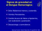 signos de gravedad en el dengue hemorr gico