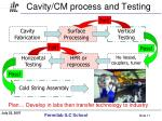 cavity cm process and testing