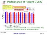 performance of recent cm 7
