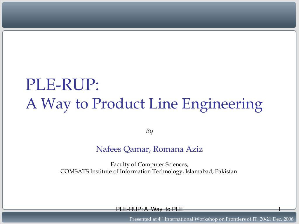ple rup a way to product line engineering l.