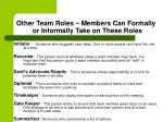 other team roles members can formally or informally take on these roles