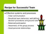 recipe for successful team29