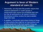 argument in favor of western standard of care 3