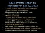 ism forrester report on technology in sm q3 2003