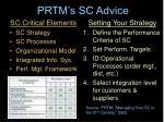 prtm s sc advice