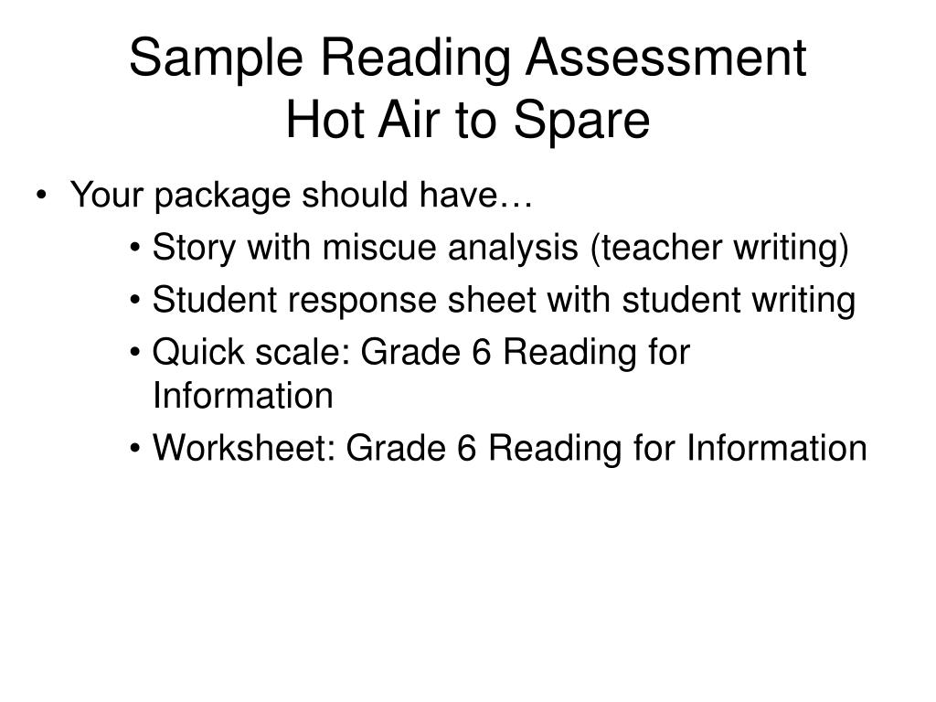 Sample Reading Assessment